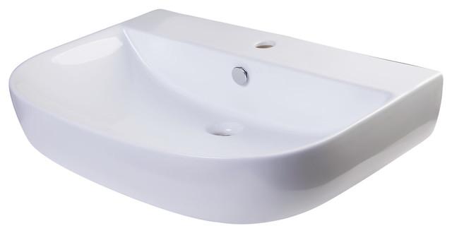28 White D-Bowl Porcelain Wall Mounted Bath Sink.