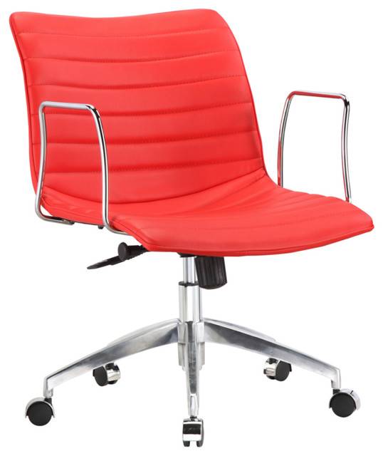 Fine Mod Imports Comfy Office Chair Mid Back, Red.