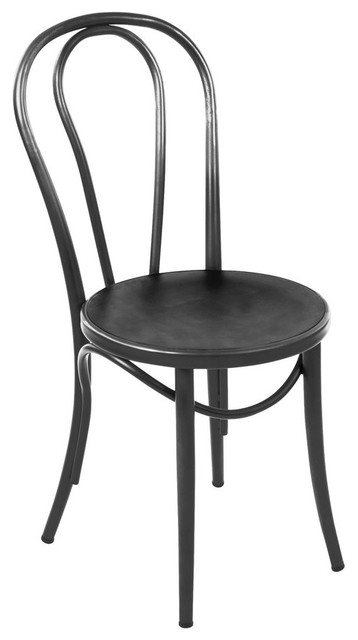 Thonet Style Steel Side Chair, Black, Set Of 2.