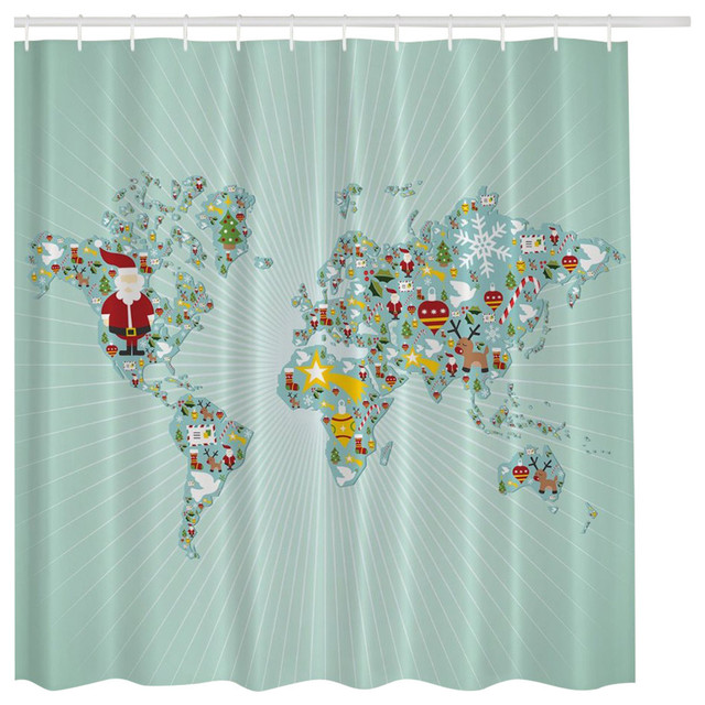 Aqua Blue Santa Claus Christmas World Map Globe Fabric Shower Curtain