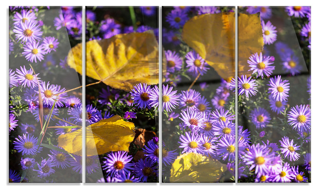 Little Purple Flowers And Yellow Leaves Metal Art Contemporary