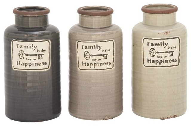 """Ceramic """"Family"""" Jars Set of 3 Farmhouse Kitchen Canisters And"""
