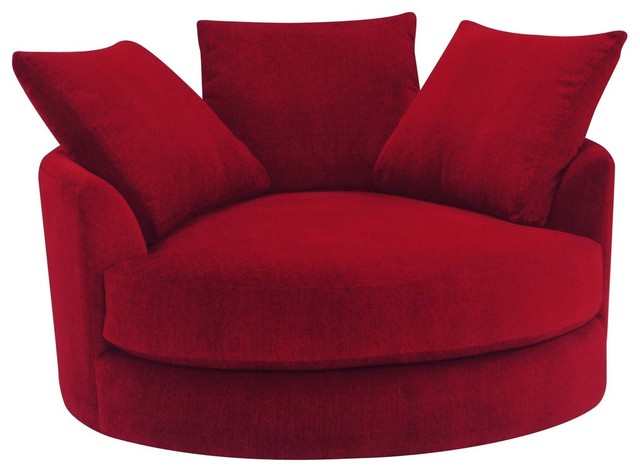 Cuddle Circle Lounge Chair With Swivel Scarlet