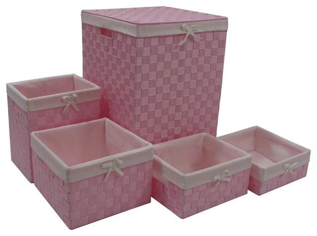 5-Piece Hamper And Basket Set, Pink.