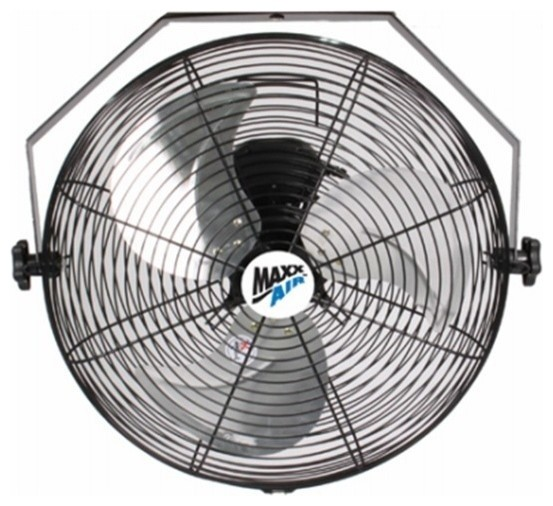 """Maxxair Hvwm18 High Velocity Wall Mount Fan With 3-Speed Pull Chain, 18""""."""