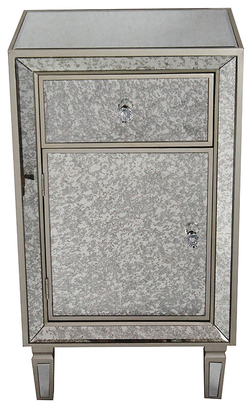 1Drawer 1Door Antiqued Mirror Tall Accent Cabinet  MDF Wood Mirrored Glass