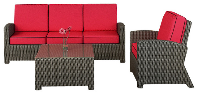 Barbados 3 Piece Modern Wicker Sofa Set, Flagship Ruby Cushions  Contemporary Outdoor Lounge