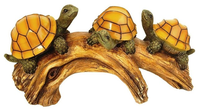 Moonrays Turtles On A Log Outdoor Solar Light.