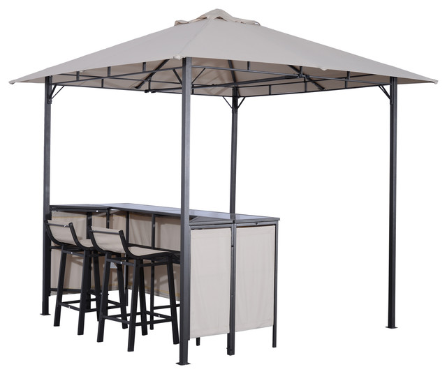 Swell Outsunny 8X8 Outdoor Covered Bar Gazebo Set With Barstools Download Free Architecture Designs Embacsunscenecom