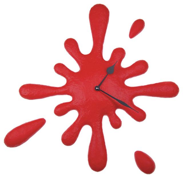 splatter paint splatter wall clock glossy red