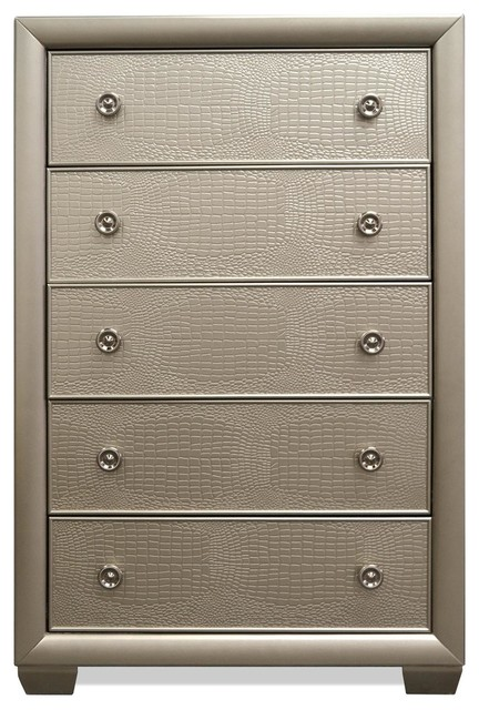 Kamden Champagne 5 Drawer Chest.