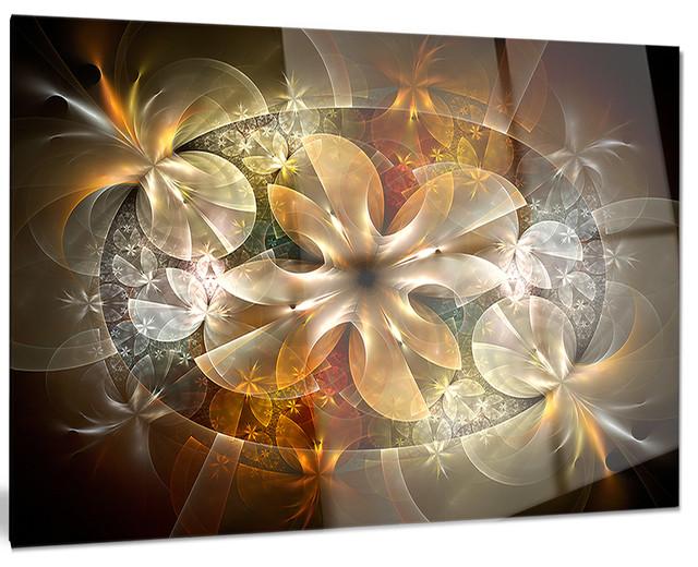 """fractal Flower With Blue Details"" Metal Wall Art, 40""x30""."
