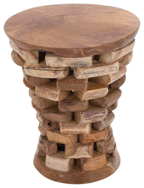 Round Shaped Teak Wooden Accent Table Natural Rich