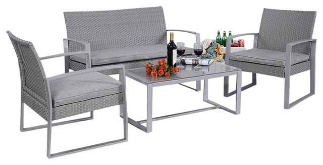 4 Piece Patio Furniture Set Contemporary Outdoor Lounge Sets By Affordablevariety
