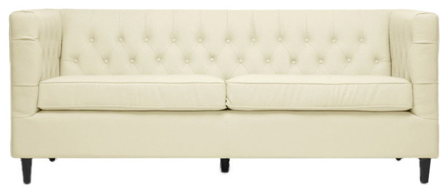 Pleasing Baxton Studio Darrow Cream Modern Leather Sofa Ibusinesslaw Wood Chair Design Ideas Ibusinesslaworg