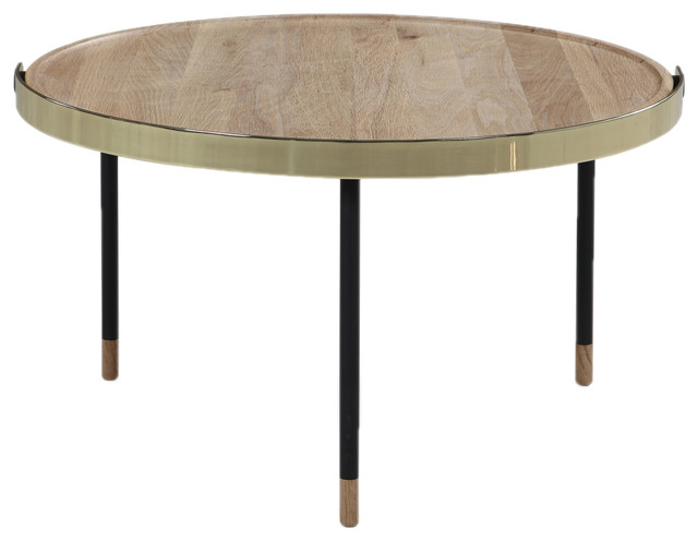 Carmel Modern Round Wood Coffee Table Transitional Coffee