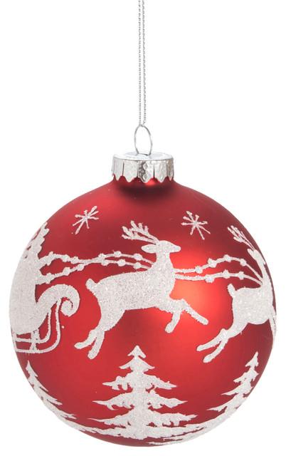 Red Christmas Ball Ornaments.Glass Red Christmas Santa Ball Ornament