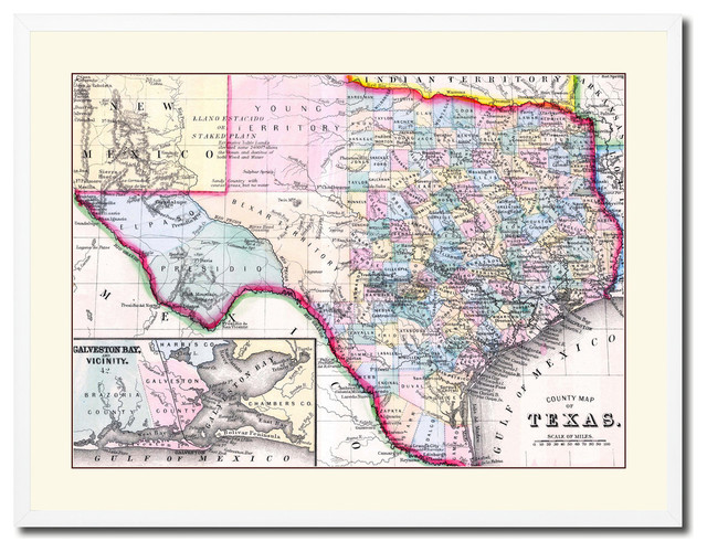 Old Map Of Texas.Texas Vintage Old Map Print On Canvas With Picture Frame 28 X 37