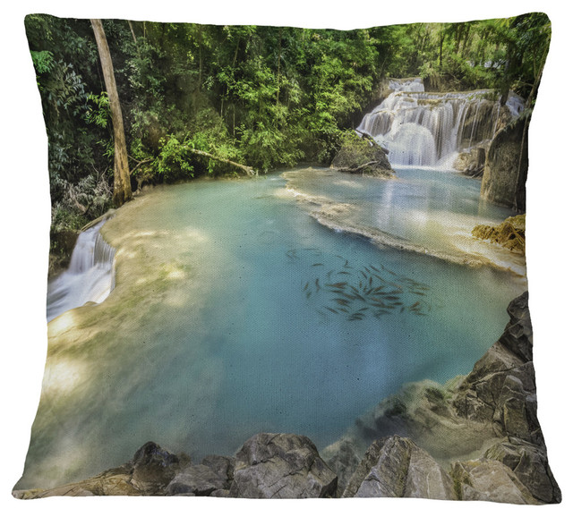 Erawan Waterfall Top View Photography Throw Pillow Contemporary Decorative Pillows By Design Art Usa