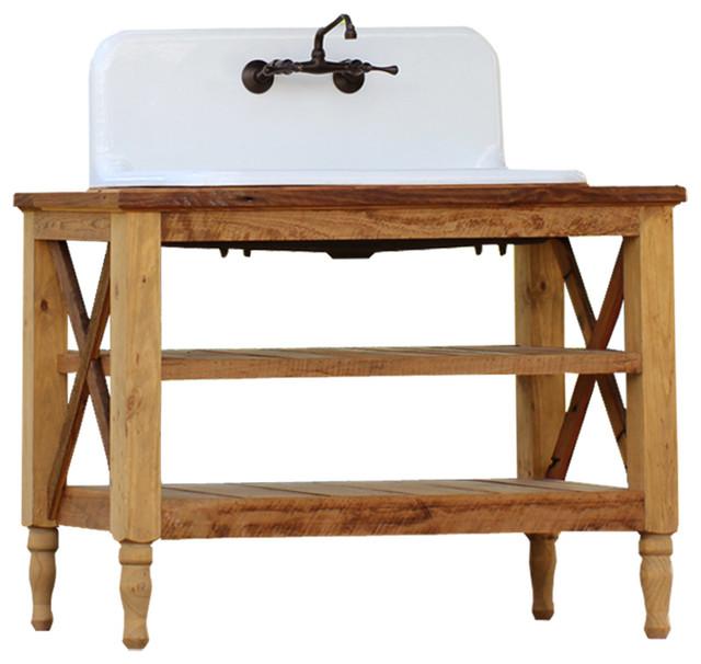 high back cast iron porcelain farm sink stand 48u201d reclaim wood french vanity farmhouse - Cast Iron Sink