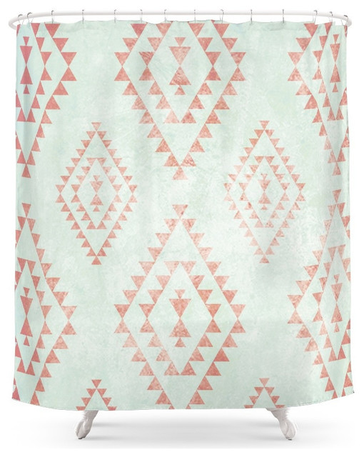 Society6 Mint And Coral Tribal Pattern Shower Curtain