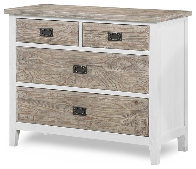 Catania 4-Drawer Split Chest, Single Dresser, Weathered Pine/White