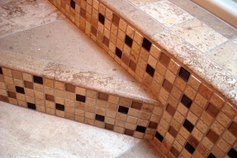 bathroom with wood tile raleigh bath remodel travertine and glass contemporary 17216