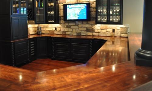 Wood countertop chamfered corner in kitchen