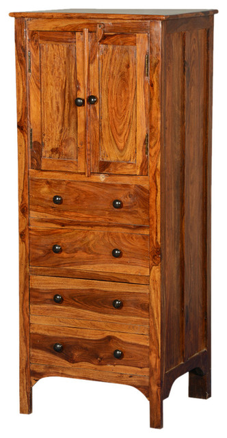 """Rustic Solid Wood 56"""" Tall Storage Cabinet w 4 Drawers ..."""