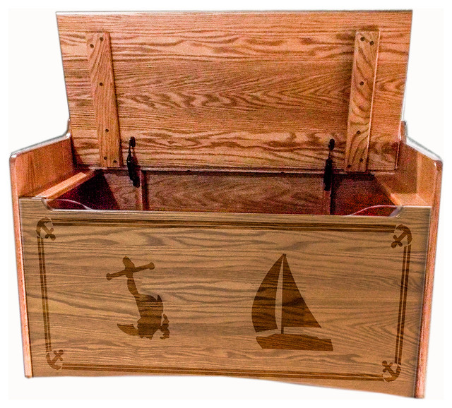 Amish Hardwood Oak Sailing Bench Toy Box Chest