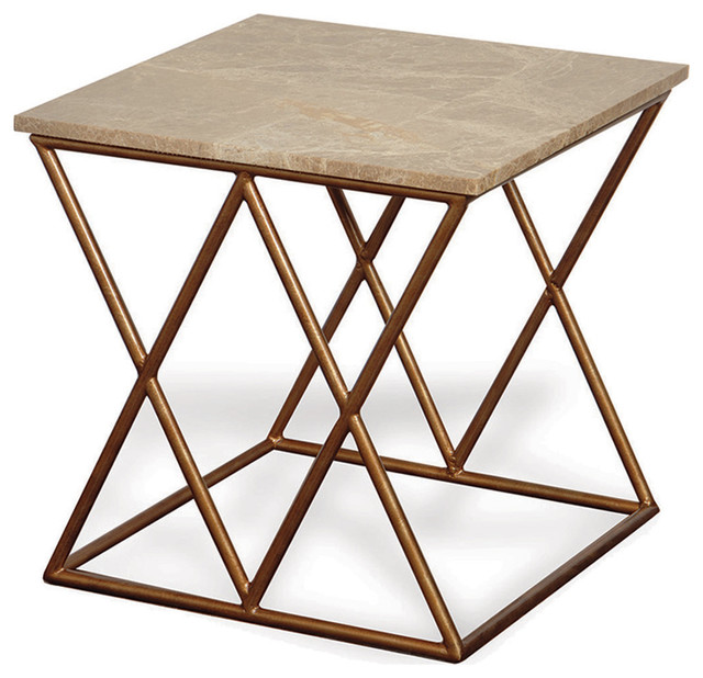 Contemporary French Gold Crossing Accent Side Table Transitional Side Tables  And End