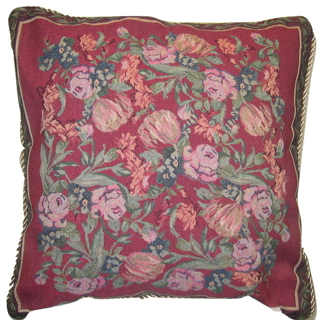 French Rose Field Pillow Cover, Red - Victorian - Decorative Pillows - by DaDa Bedding Collection