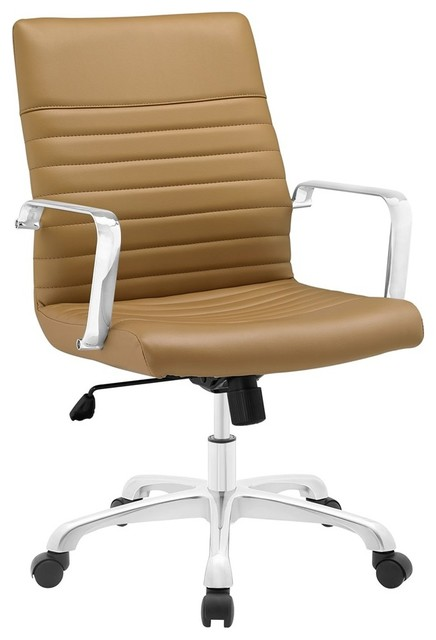 Modway Furniture Finesse Mid Back Office Chair, Tan.
