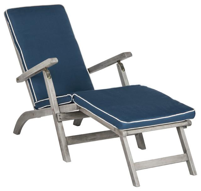 Safavieh Palmdale Outdoor Lounge Chair, Gray, Navy.