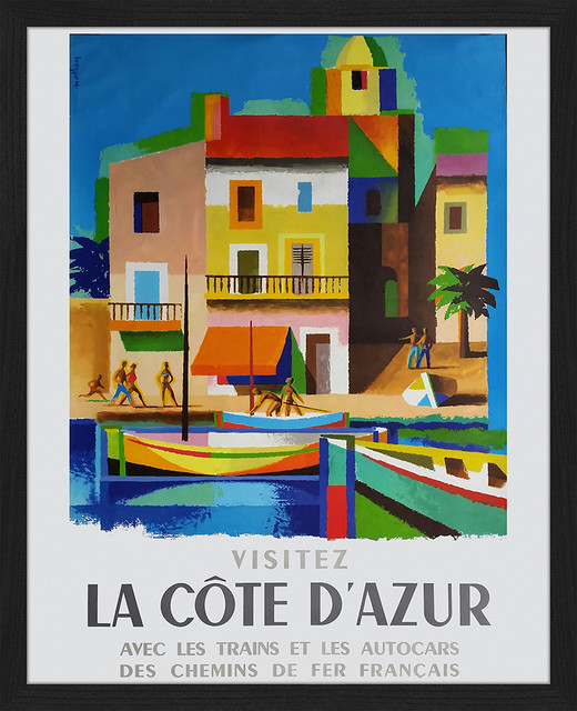 """""""Visitez la Côte d'Azur"""" Framed Art Print, 45x55 cm"""