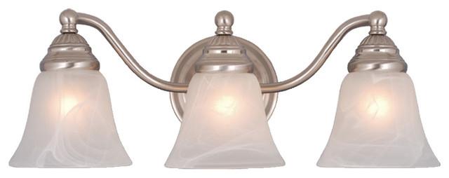 Standford 3-Light Vanity, Brushed Nickel and Alabaster