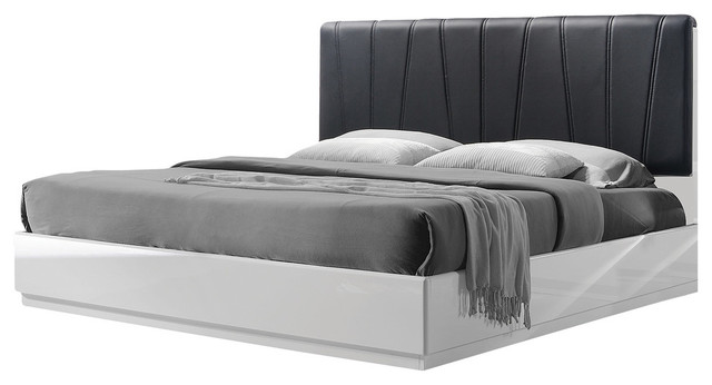 Modern White Lacquer Platform Bed, Queen