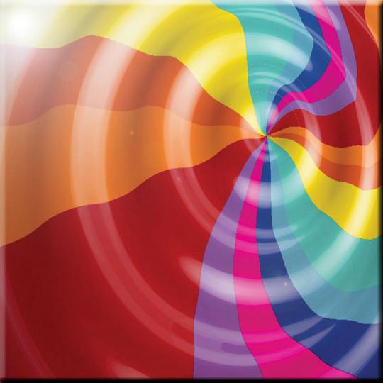 """Rainbow Color Liquid Swirls Design Ceramic Art Tile, 4.25"""" X 4.25""""."""