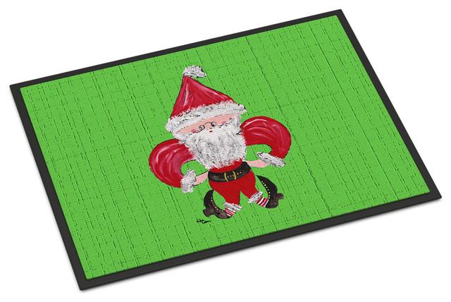 Christmas Fleur De Lis Santa Claus Indoor Outdoor Mat