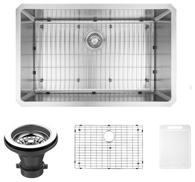 ... 16 Gauge Kitchen Sink, Kitchen Sink, Grid and Strainer modern-kitchen