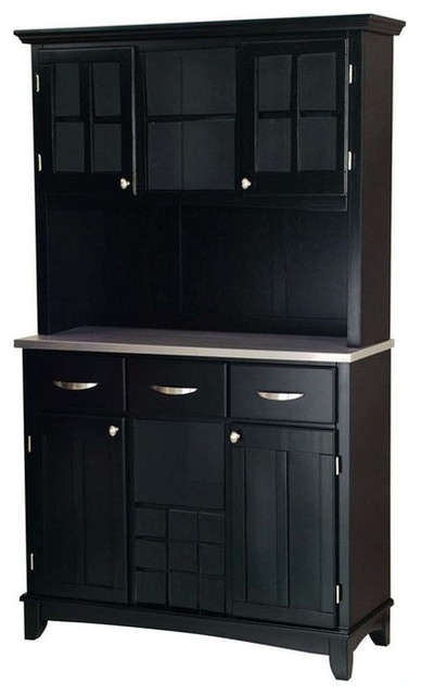 Home Styles Furniture 3-Drawer Large Black Wood Buffet ...