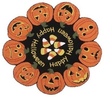 peking handicraft halloween happy halloween round multi color hook area rug traditional novelty - Halloween Rugs