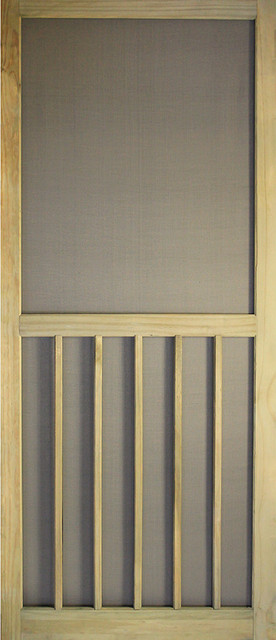 "Wood Screen Door, Acq Treated, 5-Bar, Stainable, 1""x32""x80""."