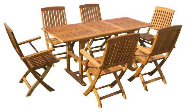Bascara Rectangular Set Of Seven Dining Group Brown Stain
