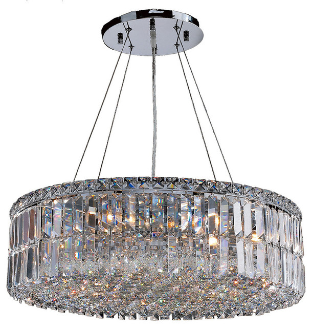 Contemporary 12 Light Chrome Finish With Clear Crystal Chandelier