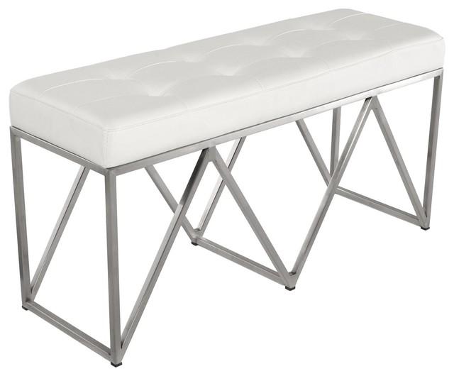 Nuevo Living Celia Occasional Bench, White Naugahyde, Silver.
