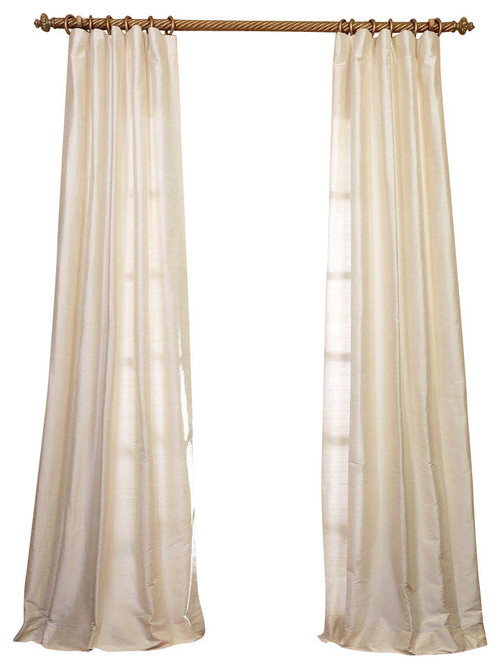 "Pearl Textured Dupioni Silk Curtain Single Panel, 50""x96"""