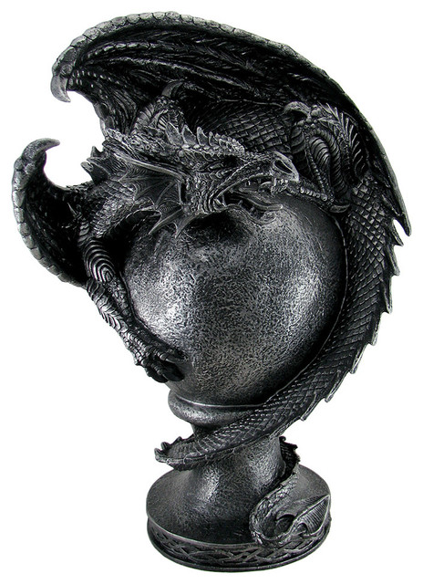 Guardian of the orb sculptural gothic dragon statue decorative objects and figurines by zeckos - Guarding dragon accent table ...