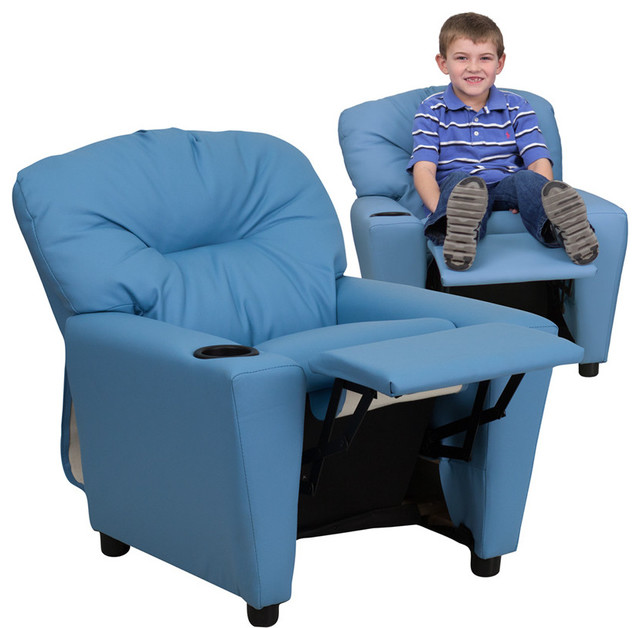 Contemporary Light Blue Vinyl Kids Recliner with Cup Holder contemporary-kids-chairs  sc 1 st  Houzz : baby recliner seat - islam-shia.org