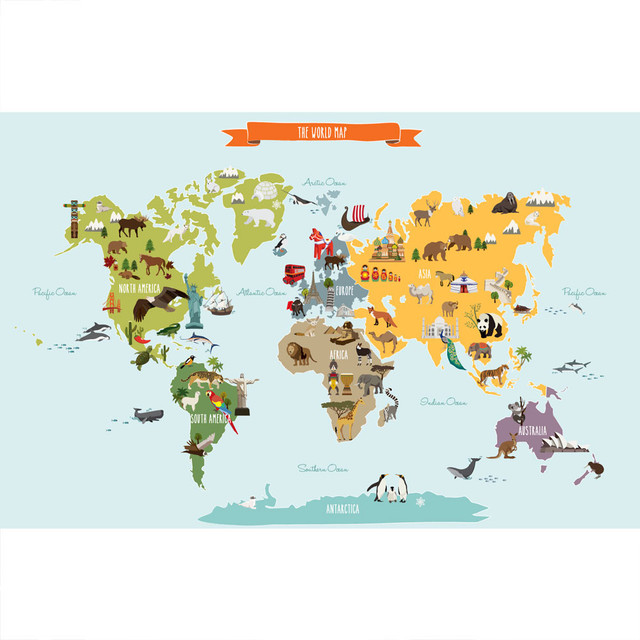 Simple shapes the world map poster wall sticker reviews houzz the world map poster wall sticker large contemporary kids wall decor gumiabroncs Images